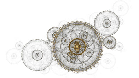 Old Clock Mechanism, Metallic Cogwheel Animation