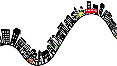 Hilly town traffic loop Animation
