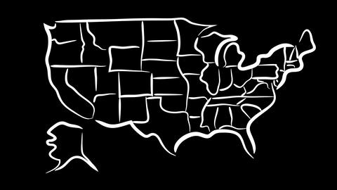 USA Sketch Map Wiggle stock footage