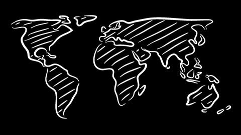 World Map Sketch Wiggle stock footage