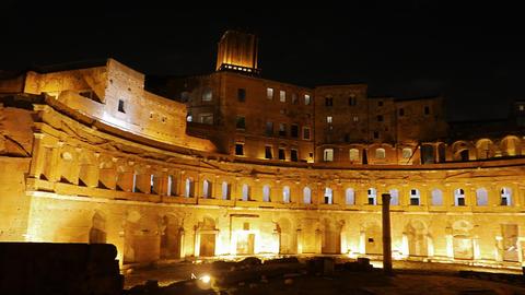 Trajan's market, Night. Roma, Italy. 4K Footage