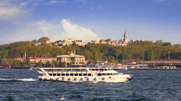 Historical Topkapi Palace and a ferry sailing into Goldenhorn, Istanbul Footage