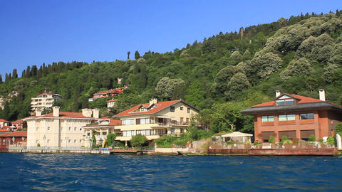 Luxury residences along Bosphorus coastline Footage