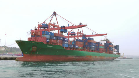 Green Container Ship Footage
