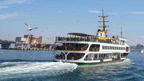 Slow Motion. Flock of sea birds following the city cruise ship, sailing to Kadik Footage