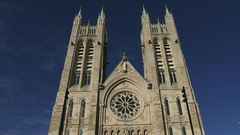 Facade of the basilica of our Lady Immaculata in Guelph, Ontario Footage