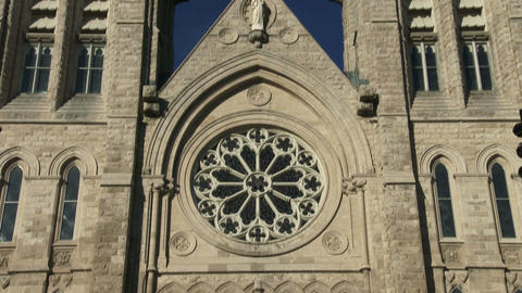 Towers and main door on the facade of the basilica of our Lady Immaculata in Gue Footage