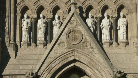 Rose window and main entrance of the basilica of our Lady Immaculata in Guelph,  Footage