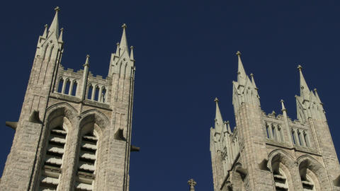 Towers on the facade of the basilica of our Lady Immaculata in Guelph, Ontario Footage