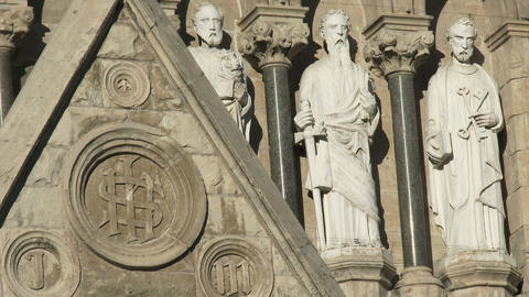 Decorative carvings on the Basilica of our Lady Immaculata in Guelph, Ontario Footage