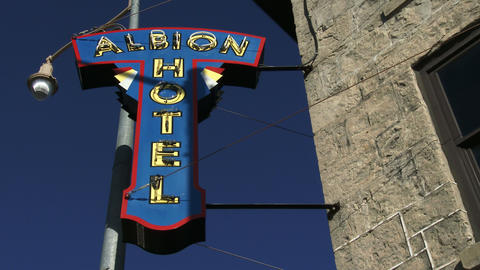 Establishing shot of sign of Albion Hotel in downtown Guelph, Ontario Footage