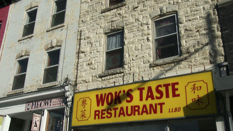Establishing shot of Chinese restaurant in downtown Guelph Footage