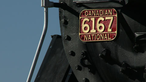 Detail of old locomotive at Guelph train station Footage