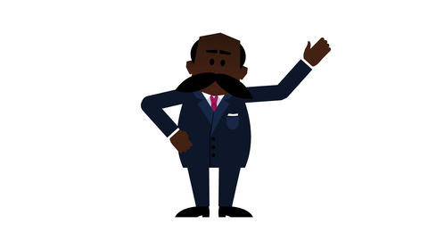 Senior black businessman explaining. 4K loopable animation with alpha matte Animation