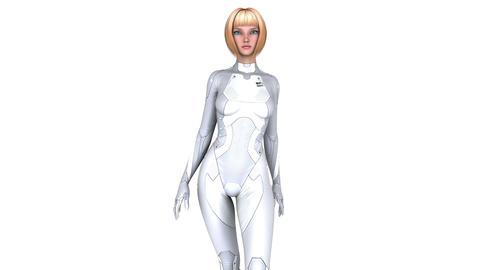 歩く女性サイボーグ Animation