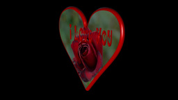 """Rotating heart with """"I love you"""" and a rose (loopable) Animation"""