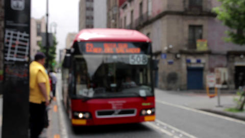 Mexico City, Mexico-June 2014: Bus stop blurred image, a bus arrive and open the Footage