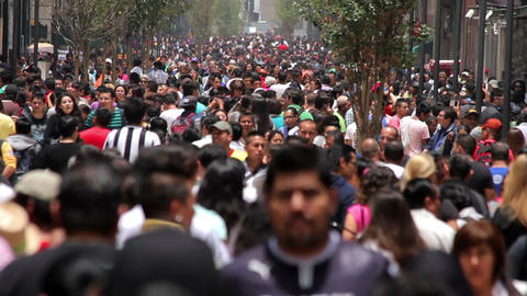 Mexico City, Mexico-CIRCA June,2014: Crowd walking through street Footage