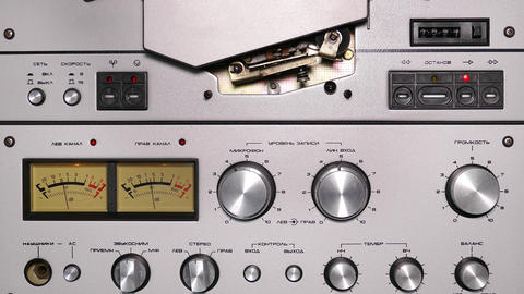 Control Panel Of Old Reel Tape Recorder - 4k stock footage