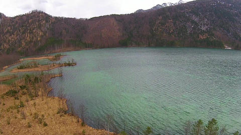 Lake In The Alps, Aerial View Austria, Almsee, Gruenau stock footage