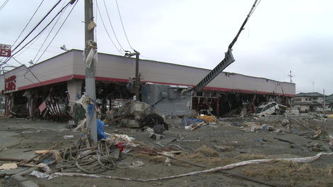 Japan Tsunami Aftermath - Building Stripped By Tsunami In Ishinomaki City stock footage