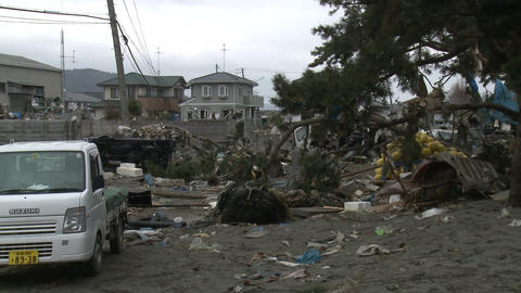 Tsunami Destruction And Aftermath In Japan stock footage