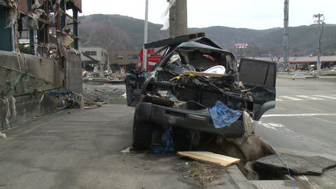 Tsunami Destruction And Aftermath In Japan Crushed Car stock footage