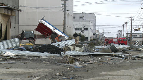 Japan Tsunami Aftermath - Damage To Port Area Footage