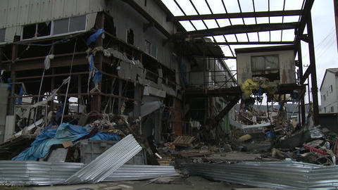 Japan Tsunami Aftermath - Damage To Industrial Buildings In Port Footage