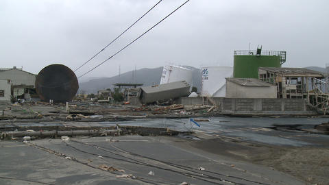 Japan Tsunami Aftermath - Destruction In Port Area In Ishinomaki City Footage