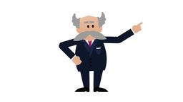 Senior White Businessman Explaining. 4K Loopable Animation With Alpha Matte stock footage