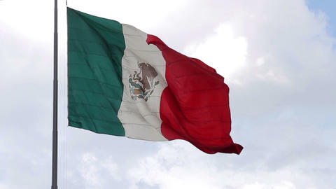 Mexico City, Mexico-August 2014: Mexican flag waving Footage
