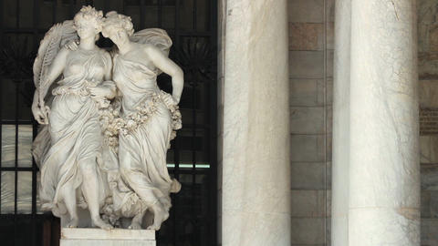 Marble Statue Located In The Square Of Bellas Artes Palace In Downtown stock footage
