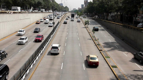 Mexico City, Mexico-June 2014: Cars Through Avenue Circuito Interior stock footage