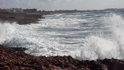 Waves in Cyprus splashing over the shore Footage