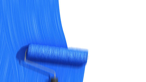 Roller Painting Blue color. Useful for Transitions. Loop-able. Alpha Channel. HD Animation