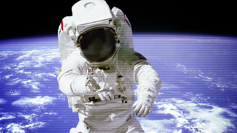 The Astronaut In Outer Space With Bad Signal Of Camera stock footage