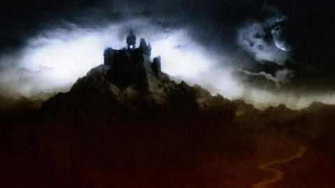 Scary Dark Castle On The Hill Above The River stock footage