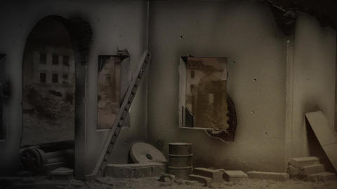 View Inside Destroyed Building stock footage