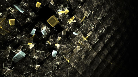Explosion of cubic particles, wall made of cubes exploding Animation