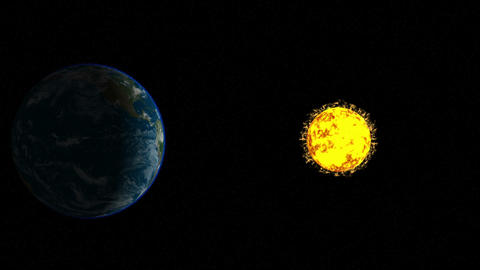 CG animation of the earth and the sun with corona in space Animation