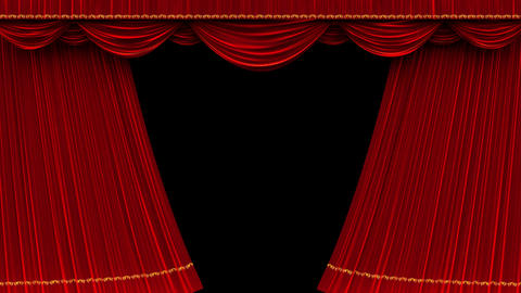 4K Theater Curtain Opening With Alpha Matte stock footage