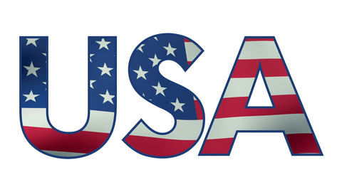The word USA with waving flag animation with alpha matte Animation
