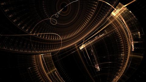 Ancient Clock Mechanism, Golden Metal Gear Wheels Animation