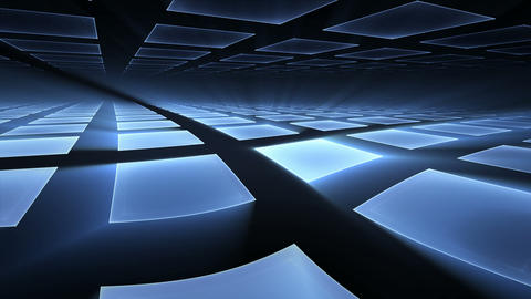 Blue Cubical Rotating Perspective Stretching Off To Infinity Animation