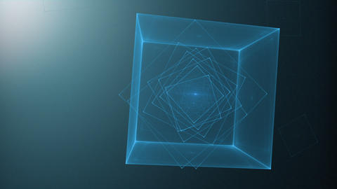 Blue Cube Rotating Loop Animation