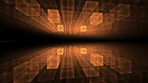 Orange Cubic Geometrical Horizon With Rays Of Light Animation