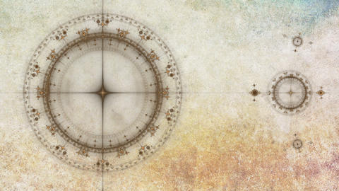 Ancient nautical instrument, compass, animated gears rotating on grunge parchmen Animation