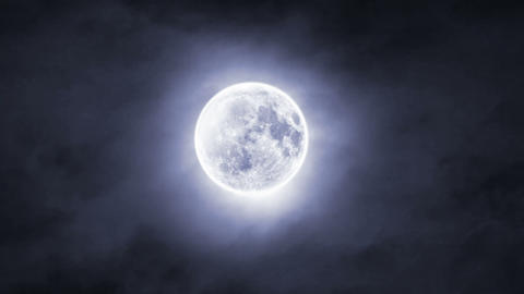 Clouds Over Moon Close Up stock footage