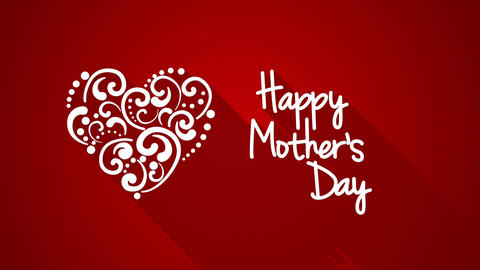 happy mother's day greeting with long shadows 4k (4096x2304) Animation
